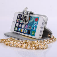 Luxury Bling Diamond Long Gold Pearl Chain PU Leather Hangbag Wallet Holder Stand Case Cover For iPhone 5 5S
