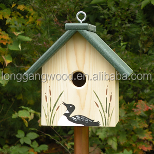 High Quality Wooden Birdcage mini garden hanging wooden bird house wood carved bird houses