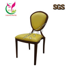 Good quality&nice aluminum chair yellow leather&wood grain weight 150KG SGS certificate hotel or restaurant dining chairs YC-D62