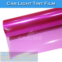 CARLIKE Transparent Polyacrylate Easy Cleaning Pink Car Headlight Vinyl Film