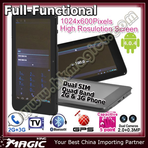 Newest tablet pc with phone function dual sim card slot GSM 2G + 3G