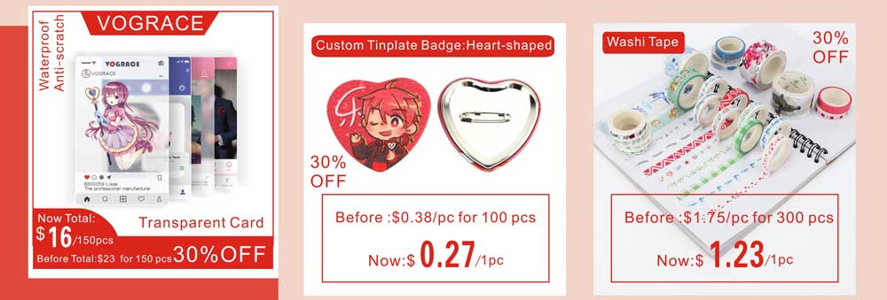 VOGRACE cheap custom cartoon anime acrylic badge wholesale logo printed transparent clear plastic name badges with safety pin