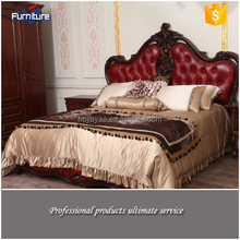 Euro Hot Sale Claret-Red Leather Bed Of Bed Room Furniture