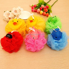 Bath Toy Style Easy to Hang mesh shower puff mesh bath ball colorful best sale kid bath mesh ball sponge wholes