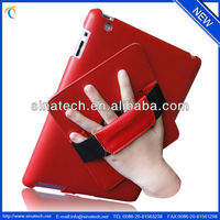 360 degree rotating back cover hard shell case for ipad 4, new ipad,hand hold rotating leather case for ipad 4