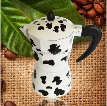 new products kitchen appliance cow pattern aluminium italian coffee maker