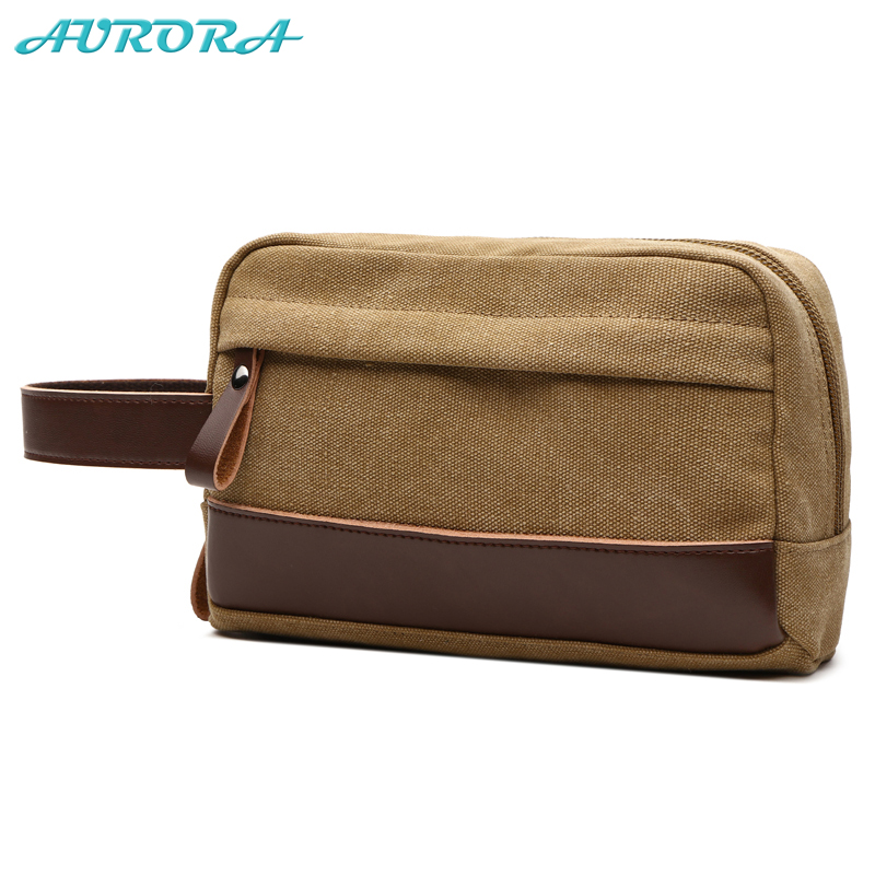 Aurora guanghzou custom khaki canvas cosmetic makeup bag pouch <strong>travel</strong>