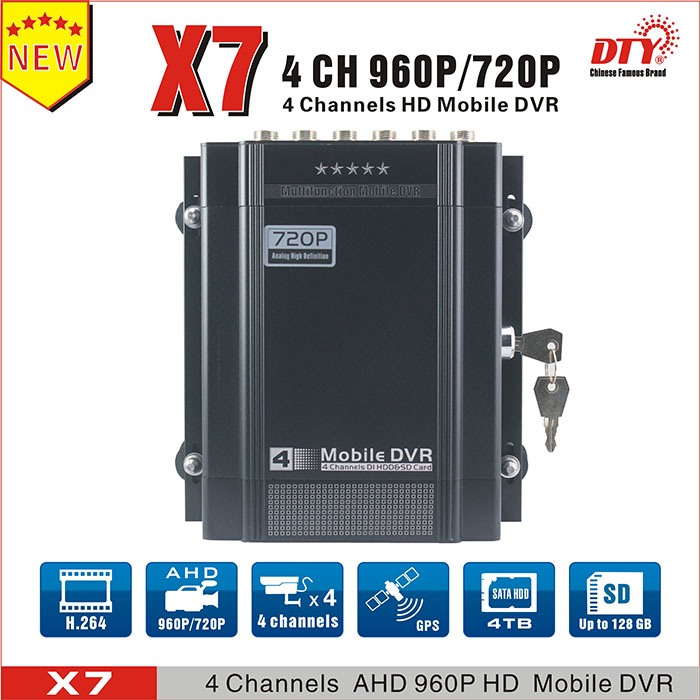 Competitive 4 channel h.264 HDD dvr and cameras for bus, car, taxi, truck, police car, auto mobile etc.X7