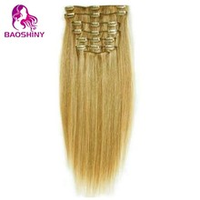 Pretty Straight Blonde Hair indian clip in hair extensions Alibaba golden supplier high quality clip hair extensions uk