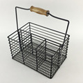 Metal Restaurant Cutlery Caddy Wire Holder Basket in Black Color F0242