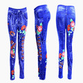 Lady's sexy slim flower print jeans denim leggings
