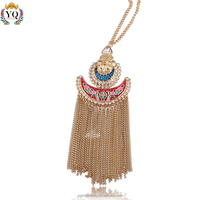 PYQ-00005 2016 crystal decorated long chain tassel colorful enamel jewelry gold pendant necklace