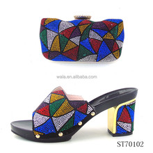 ST70102 mid heel shoes and bag set colorful stones italian style shoes women handbag