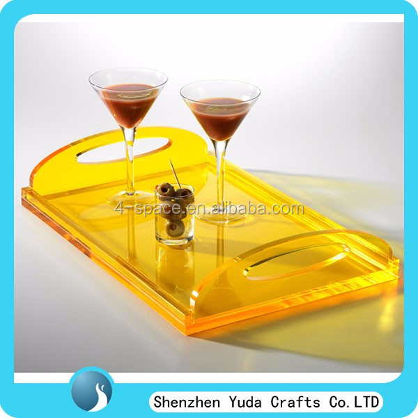 Party and bar decor pattern fluorescent color acrylic serving tray lucite cheers party tray acrylic cocktail Tray for bar