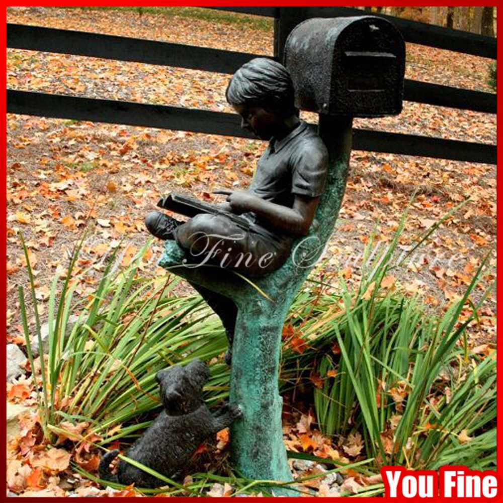 Reading Decorative Bronze Boy Mailbox With Dog Sculpture