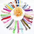 Wholesale shiny 5/8inch wide elastic band -chiffon flower decorative hair tie by 100yards
