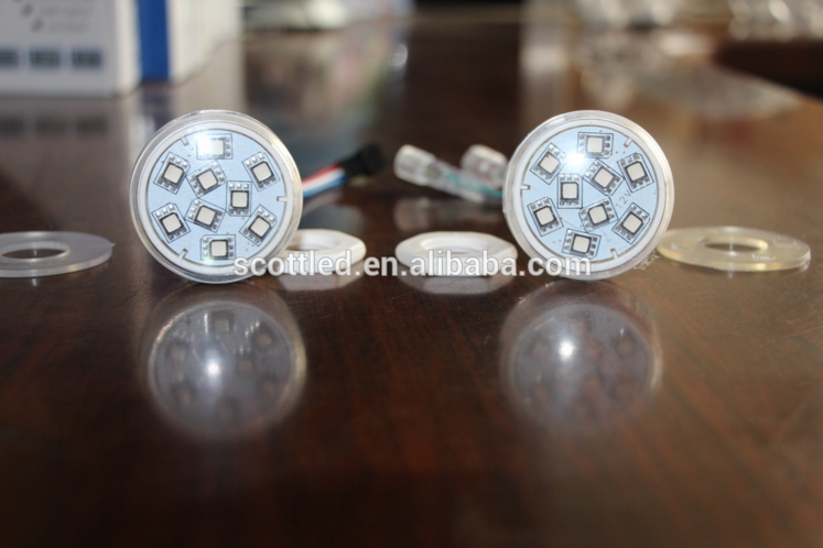Addressable Amusement Ride Light 45mm UCS1903 DC12V 9 pcs 5050 SMD LED Pixel Module with DC connector