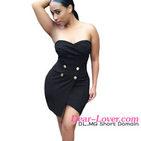 2016 black strapless wrapped korean latex very very short mini dresses