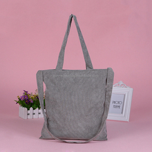 New style reusable cotton fabric sling bag for girls, grey bag with pocket