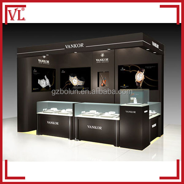 Black baking paint shopping mall kiosk for watch