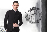 Slim Fit Black Chinese Style Mandarin Collar Tailored Mens Business Suits (Jacket+Pants+Tie) BS057 Stand Collar Man Suits