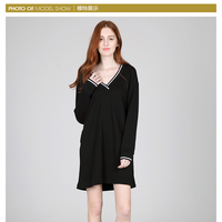 Hot Sale Women V-Neck cotton Loose A One-Piece Dress with long sleeve
