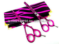 Barber Student Hair Shears Set, Pink & Black Zebra Print, Razor Edge, Sturdy Convex Blades, Size 6""