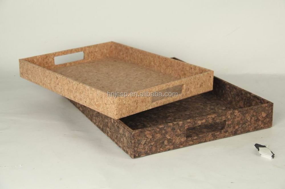 Natural Cork Designer Rectangular Service Storage Tray