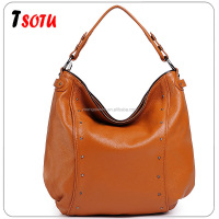 GL125 2016 new European style gun color rivet cowhide leather shoulder diagonal female bag big bag women