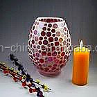 black pink color glass mosaic candle holder gifts and holiday decoration