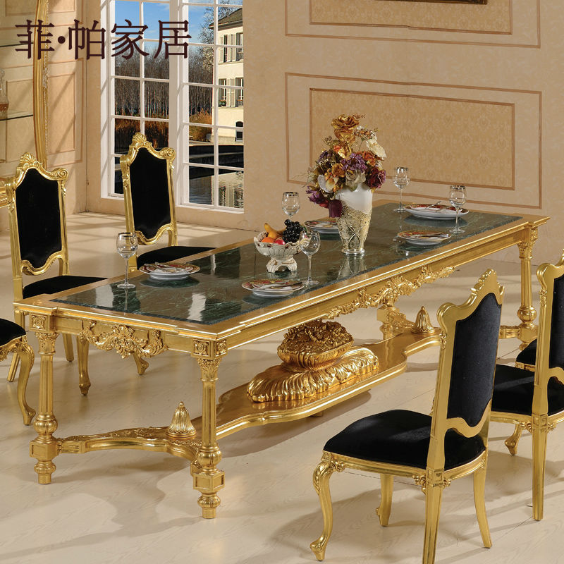 hand carved furniture Baroque gold foil dining room furniture antique dining room furniture