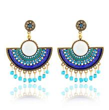 Stylish antique Look Earring Blue Tone Alloy With Glass Tube Beads And Seedbeads Fringe