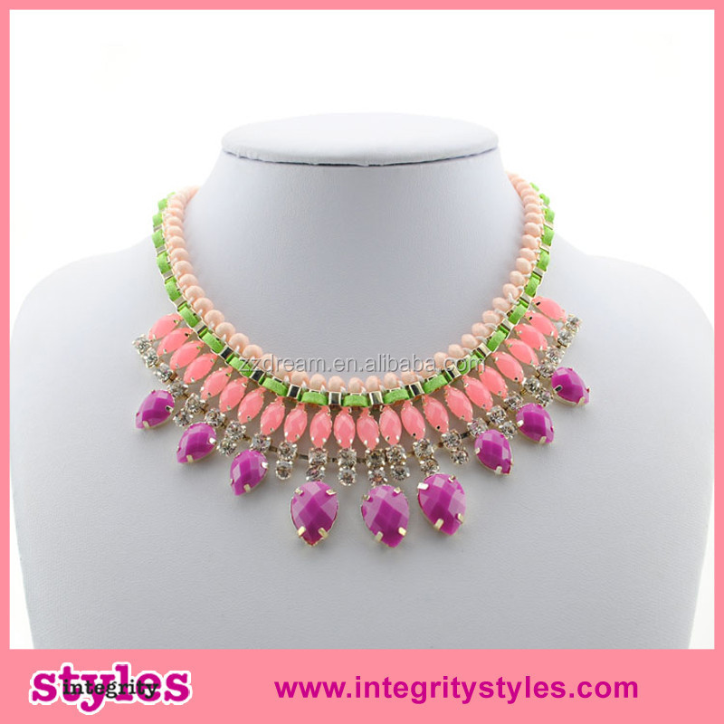 Latest summer design girls fancy exaggerated necklace