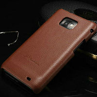Classical genuine leather back cover case for samsung galaxy s2 i9100