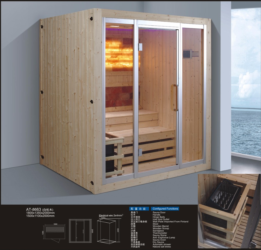 New design beautiful luxury dry infrared salt bath sauna room for sale
