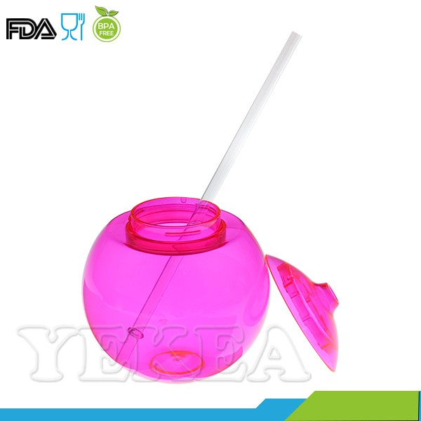 wholesale 99 cent store items ball shaped mug plastic juice cup with straw