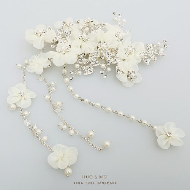 2018 Wholesale Fashion Silver Wedding Bridal Pearl Crystal Tassel Hair Claw Clip New Headpiece Women Flower Hair Clip