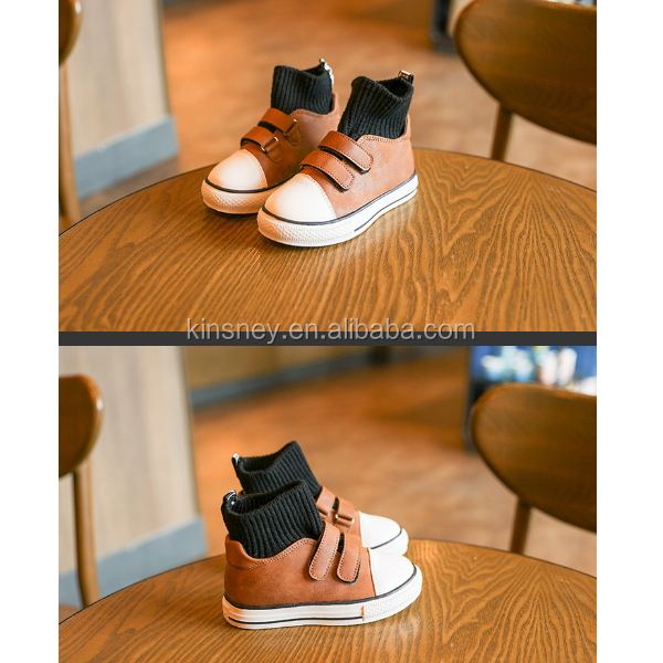 KS40520S 2016 new design solid color fashion kids safety shoes leather