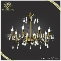 Zhongshan design lamp classic 8 lights wrought iron candle crystal chandelier lamp