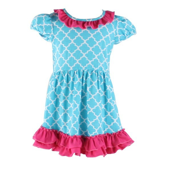 2015 Hot Sale New Style Latest Net Ten Dress, Girls Quatrefoil Dress