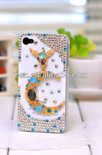 For Apple iPhone 5 5s New Arrival Luxury Rhinestone Crystal Fox PC Plastic Case