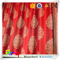 "Chinese red ""palace"" deisng- high quality soft jacquard silk look polyester hotel lobby blackout curtain, bedspreads fabric"