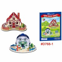 Small houses 3D jigsaw puzzle mini fan toy for kids