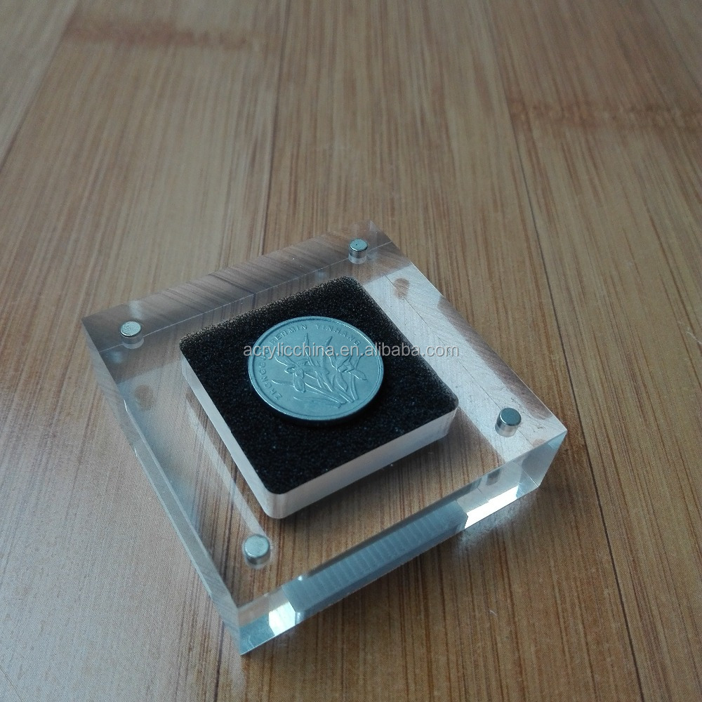 Custom acrylic coin display box with magnet