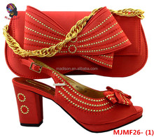MJMF26-1 New desing italian ladies Strap red shoes with stones matching evening bags for wedding