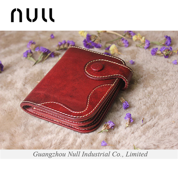 Bifold ladies short purses genuine leather female wallet cheap