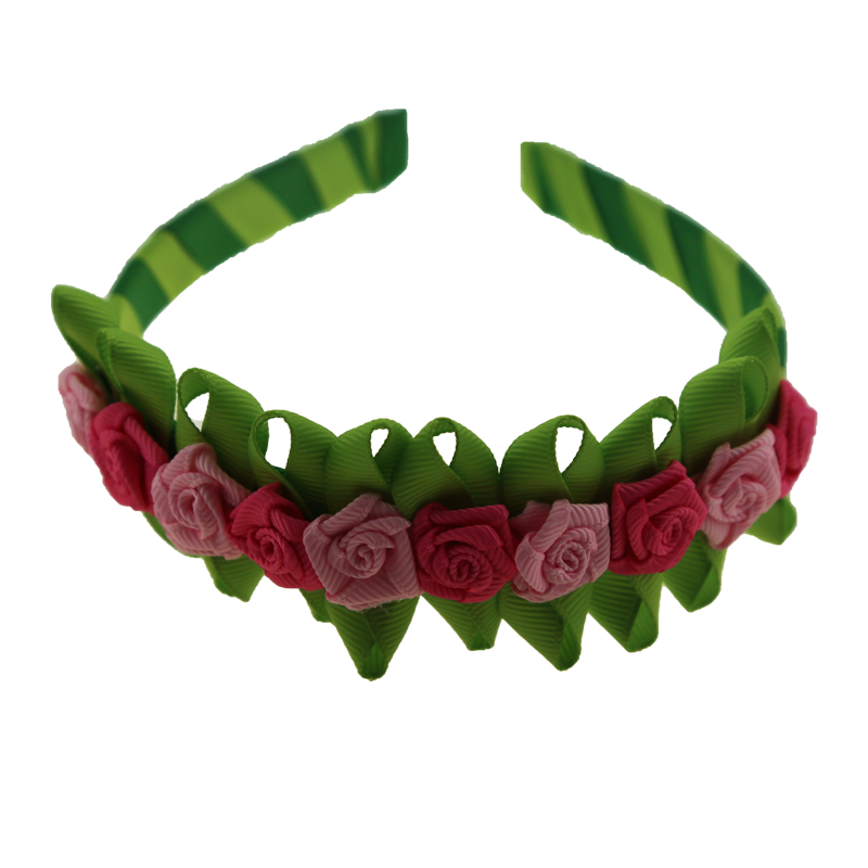 Maya handmade design ribbon rose flower hair bands for girl Spring tour hair accessories