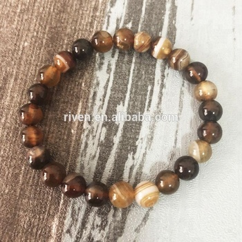 SN0073 8mm Coffee Stripe Agate Stone bracelets Men Beadwork Coffee agate stretch bracelet