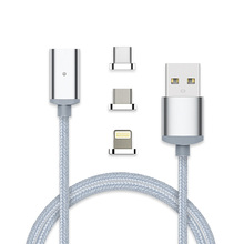 3 in 1 Magnetic Nylon Braided Lightniing,Micro USB,Type C Cable Charge,Data Transfer for Smartphone etc.