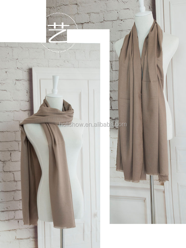 Best Selling Warm Woman Fashion Cashmere Solid Plain Pashmina Shawl